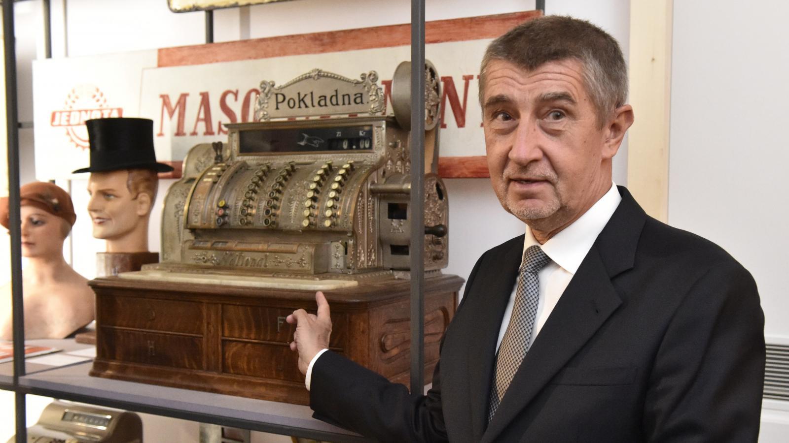 Andrej Babiš při zahájení Česko-slovenské/Slovensko-české výstavy