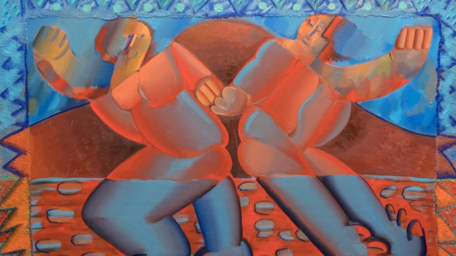 Obraz Mlask z výstavy Pavly Malinové Pinďousmrsk v Národním divadle moravskoslezském