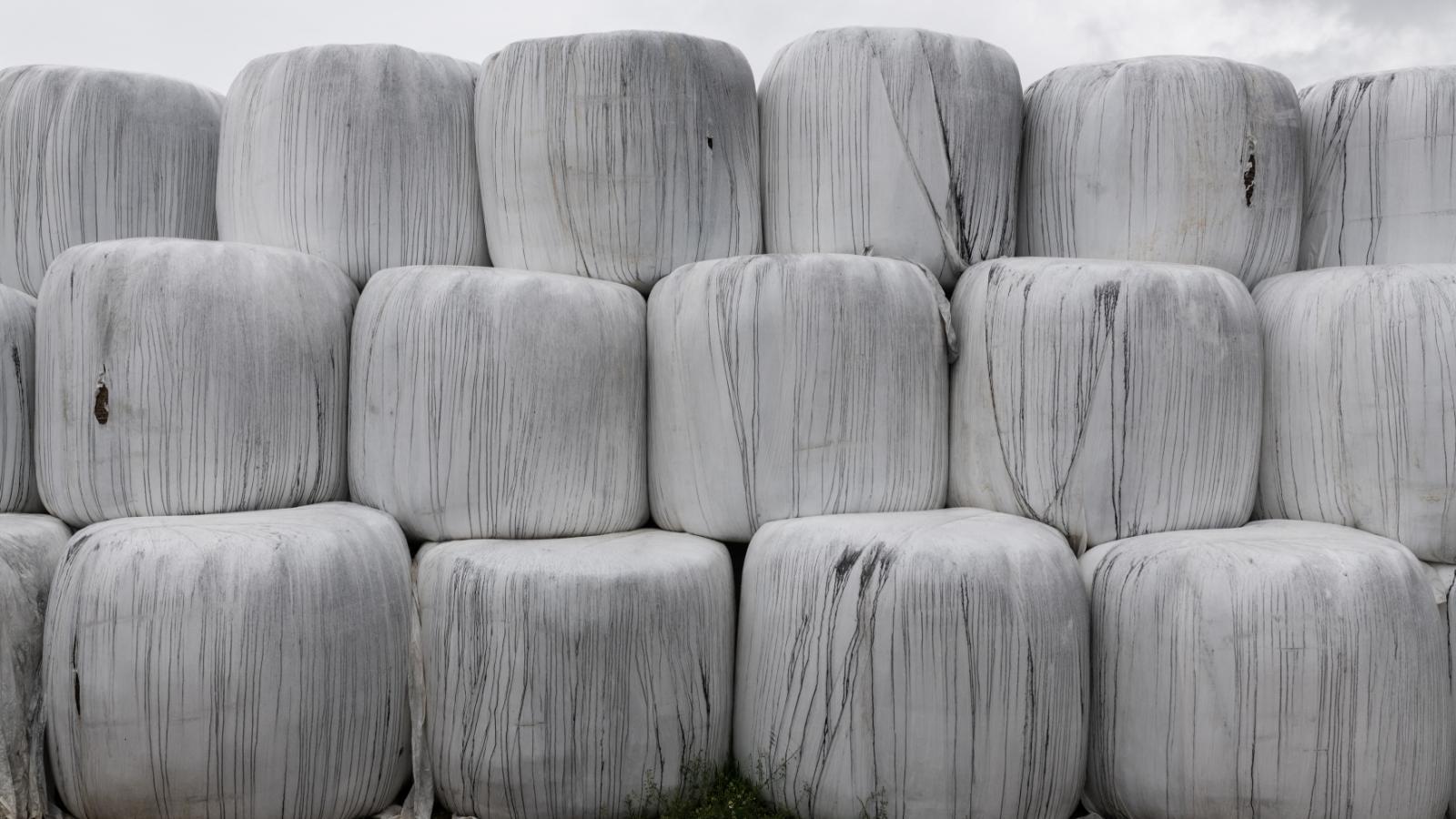 Balíky sena na farmě poblíž Rouen