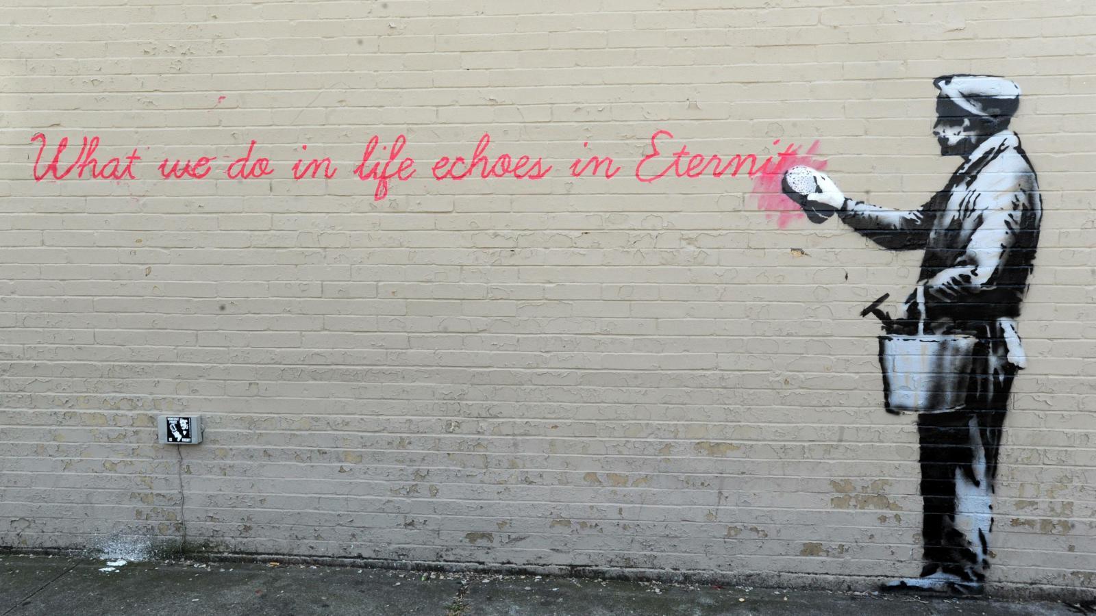Banksyho graffiti s citací z filmu Gladiátor