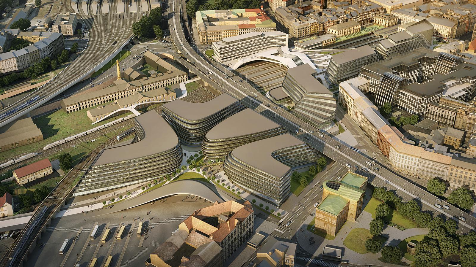 Penta představila vizualizace k nové podobě okolí Masarykova nádraží podle světoznámého ateliéru Zaha Hadid. Budova naproti Florentinu vychází z tvaru obřího kola vlaku, z něhož se po obou pláštích budovy větví kovové, zlaté prvky jako symbol kolejiště.