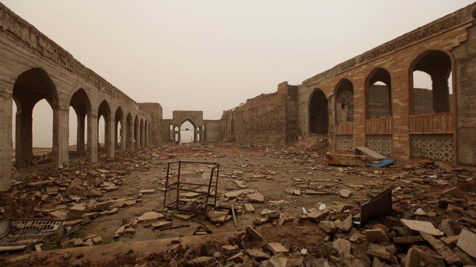 Zničená mešita proroka Jonáše v Mosulu