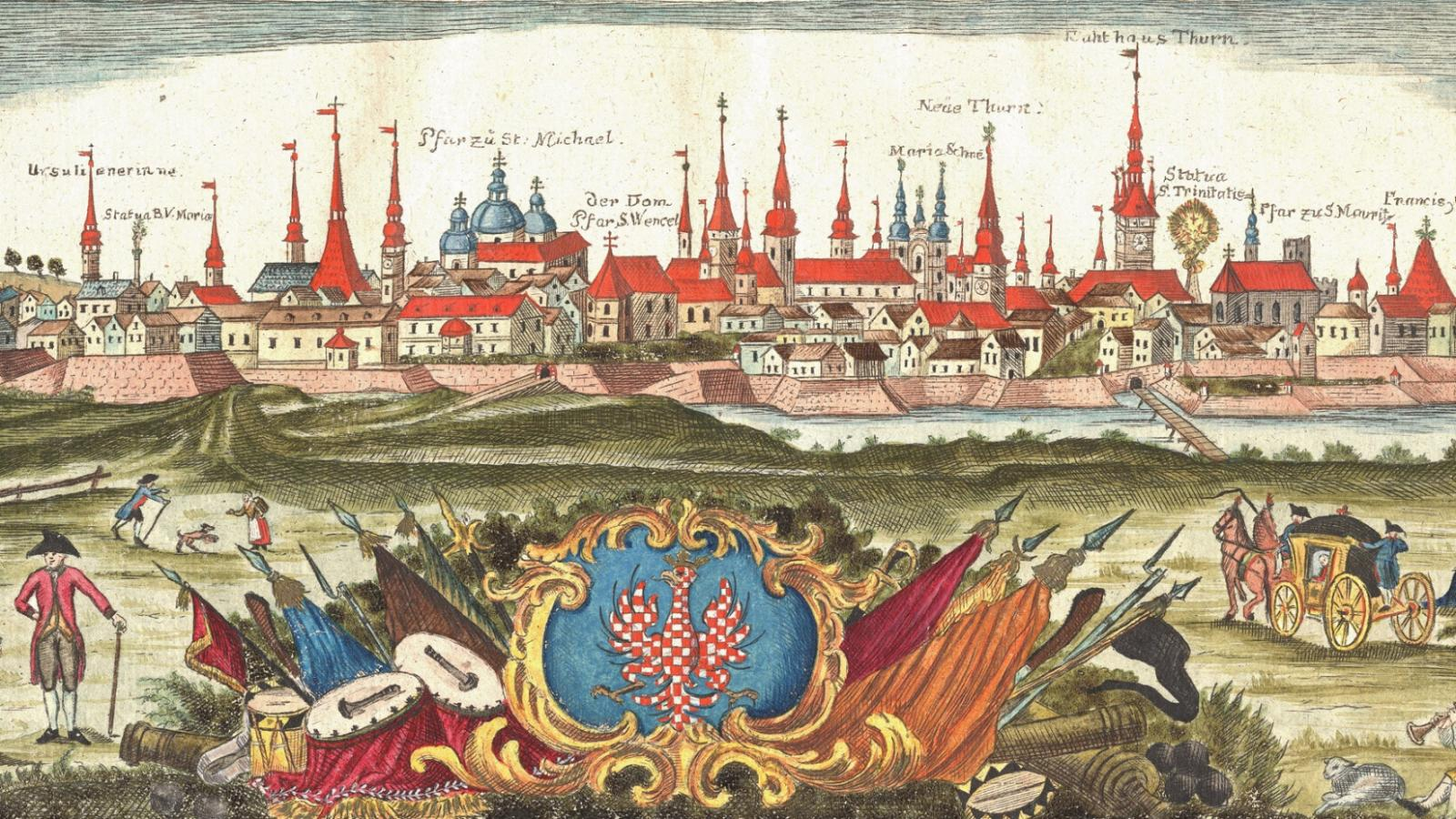 Rytina z roku 1758 - pohled na císařsko-královské hlavní město Olomouc