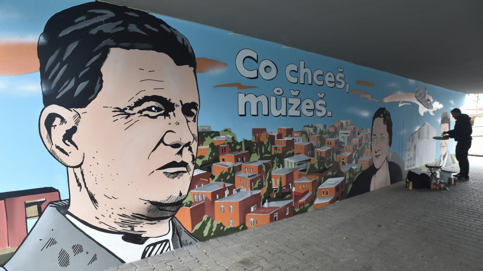 Streetart na stěně podchodu u Baťovy vily ve Zlíně