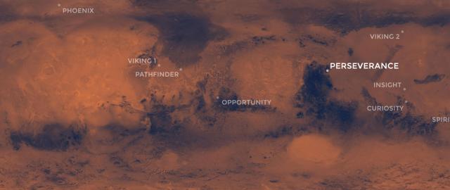 Mapa Marsu s vyznačenými místy přistání sond