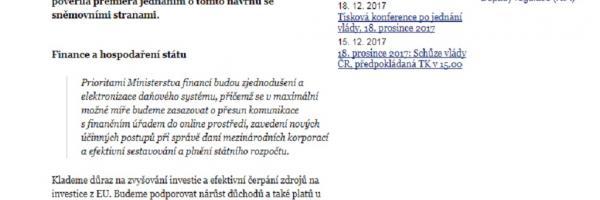 Návrh programového prohlášení vlády Andreje Babiše