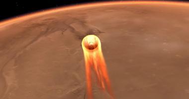 Vizualizace přistání sondy InSight na Marsu