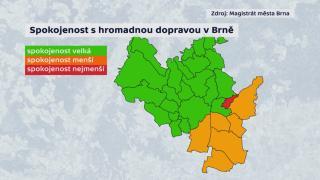 Spokojenost s hromadnou dopravou v Brně