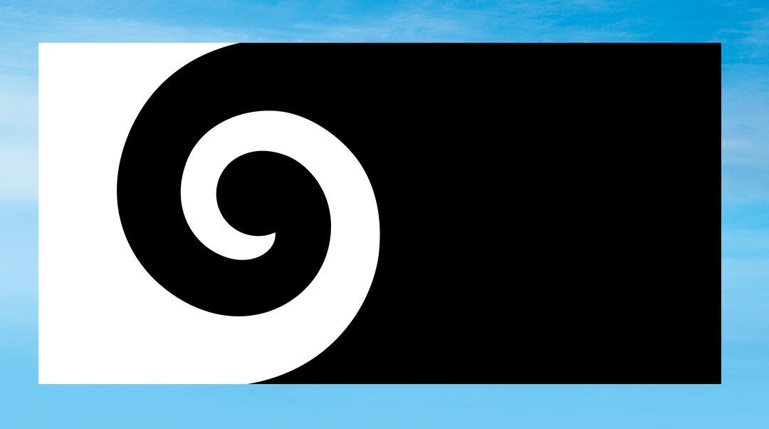 Vlajka s názvem Koru. Má připomínat kapradinu, vlnu, mrak nebo beraní roh (autor návrhu: Andrew Fyfe)