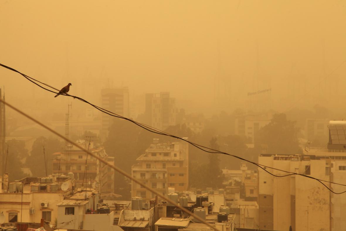 Písečná bouře v Bejrútu