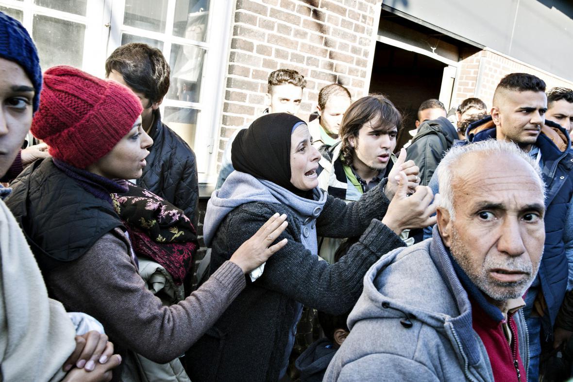 Migranti na stanici v Padborgu