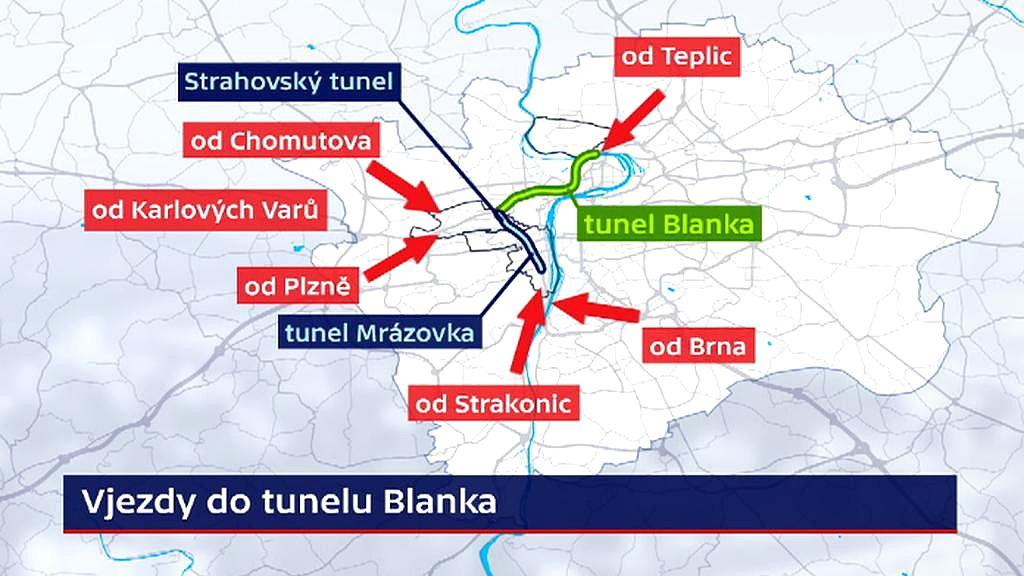 Vjezdy do tunelového komplexu Blanka