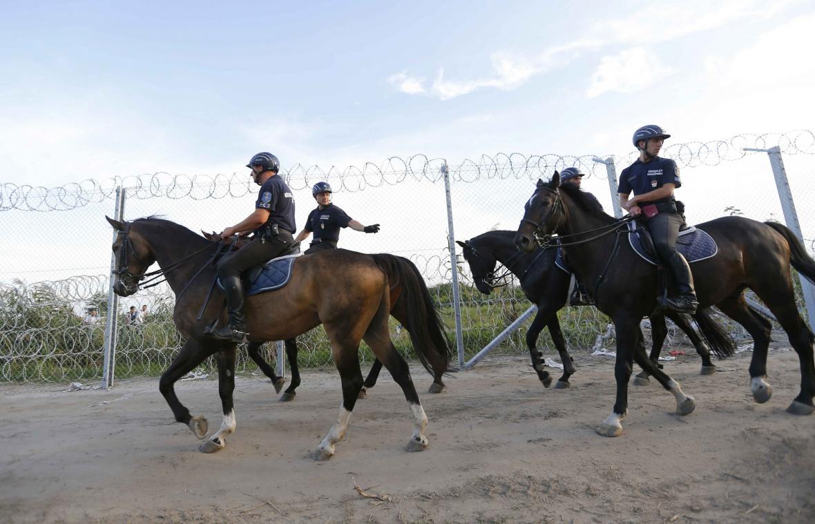 Maďarská policie kontroluje plot na hranici se Srbskem