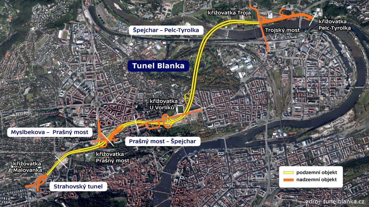 Schéma tunelu Blanka