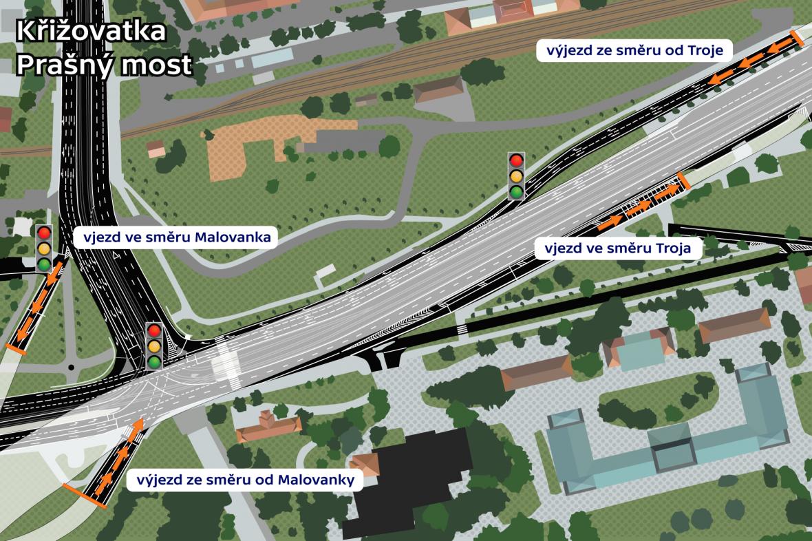 Schéma křiživatky Prašný most