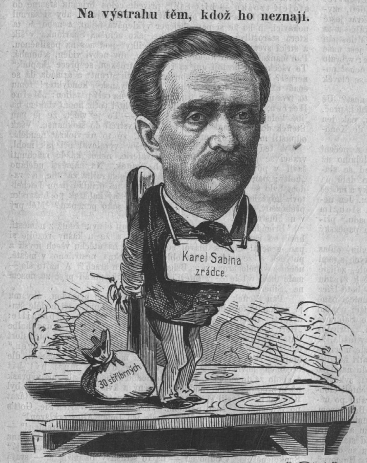 Karikatura Karla Sabiny po tzv. národním soudu