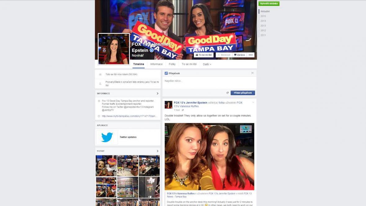 Facebook novinářky Jennifer Epstein