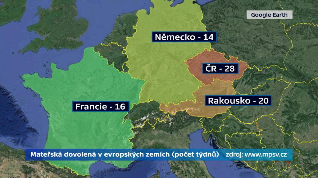 Délka mateřské v Evropě