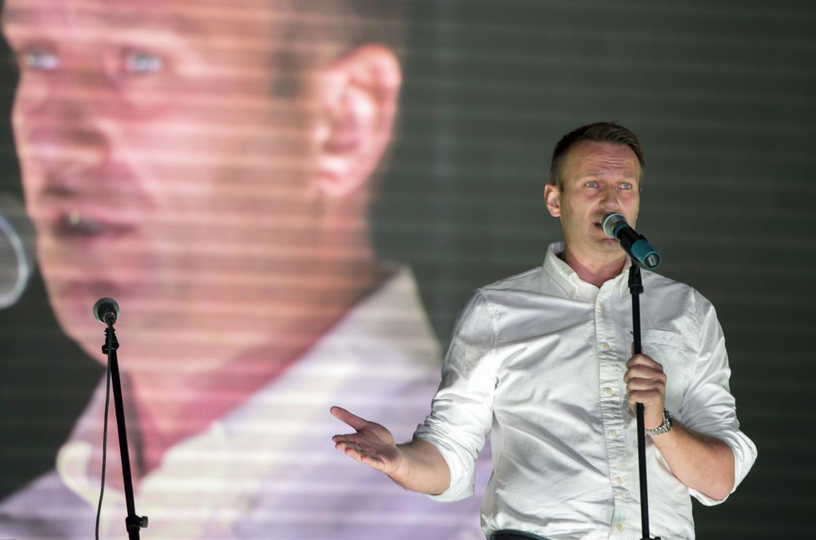 Opoziční předák Alexej Navalnyj na moskevské demonstraci