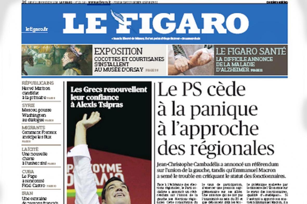 Le Figaro k výsledkům řeckých voleb
