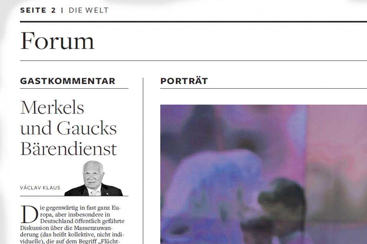 Klausův komentář pro deník Die Welt