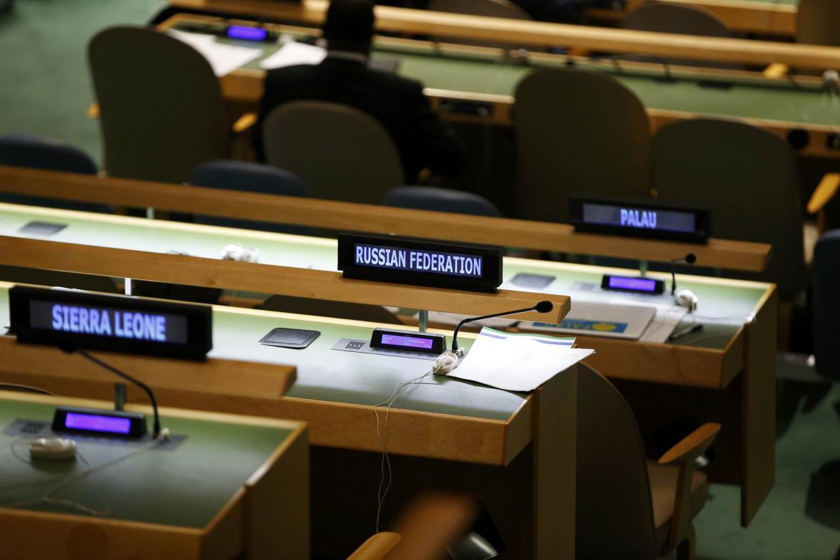 Prázdné lavice ruské delegace ve Valném shromáždění