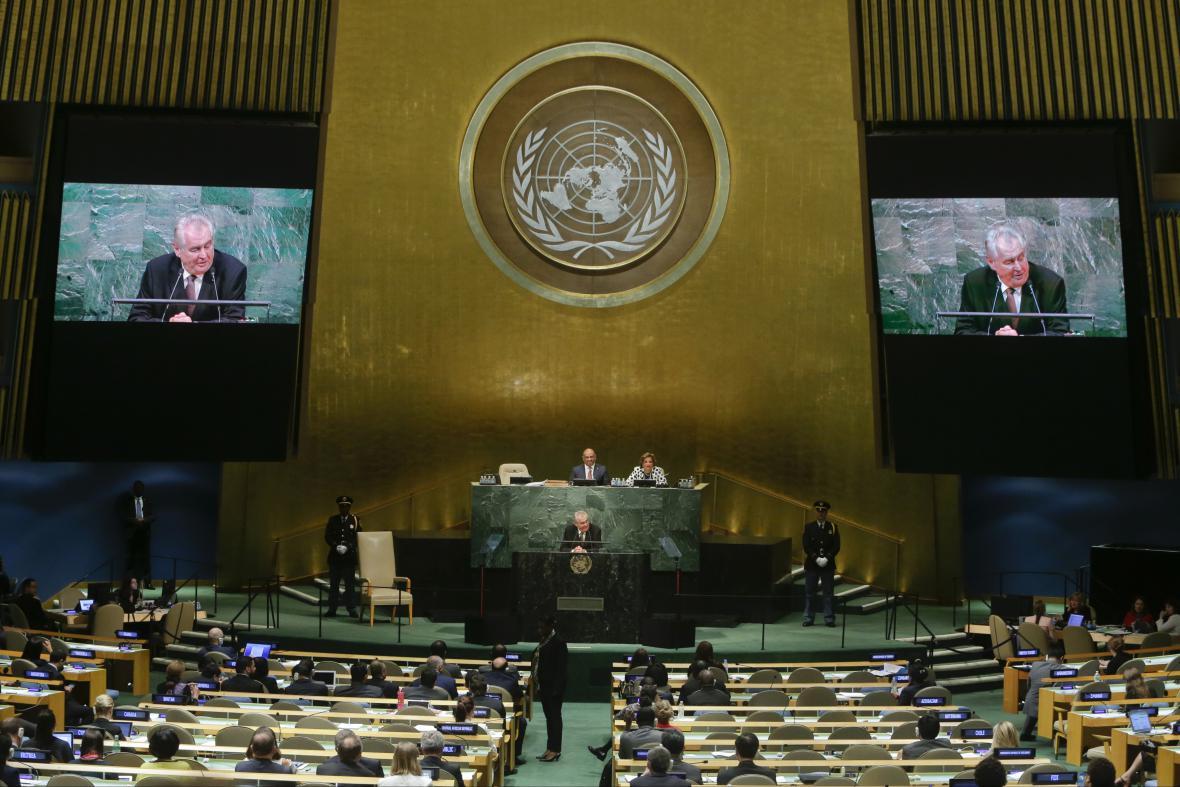 Projev Miloše Zemana na půdě OSN