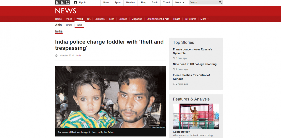 Indická policie obvinila dvouletého chlapce z krádeže