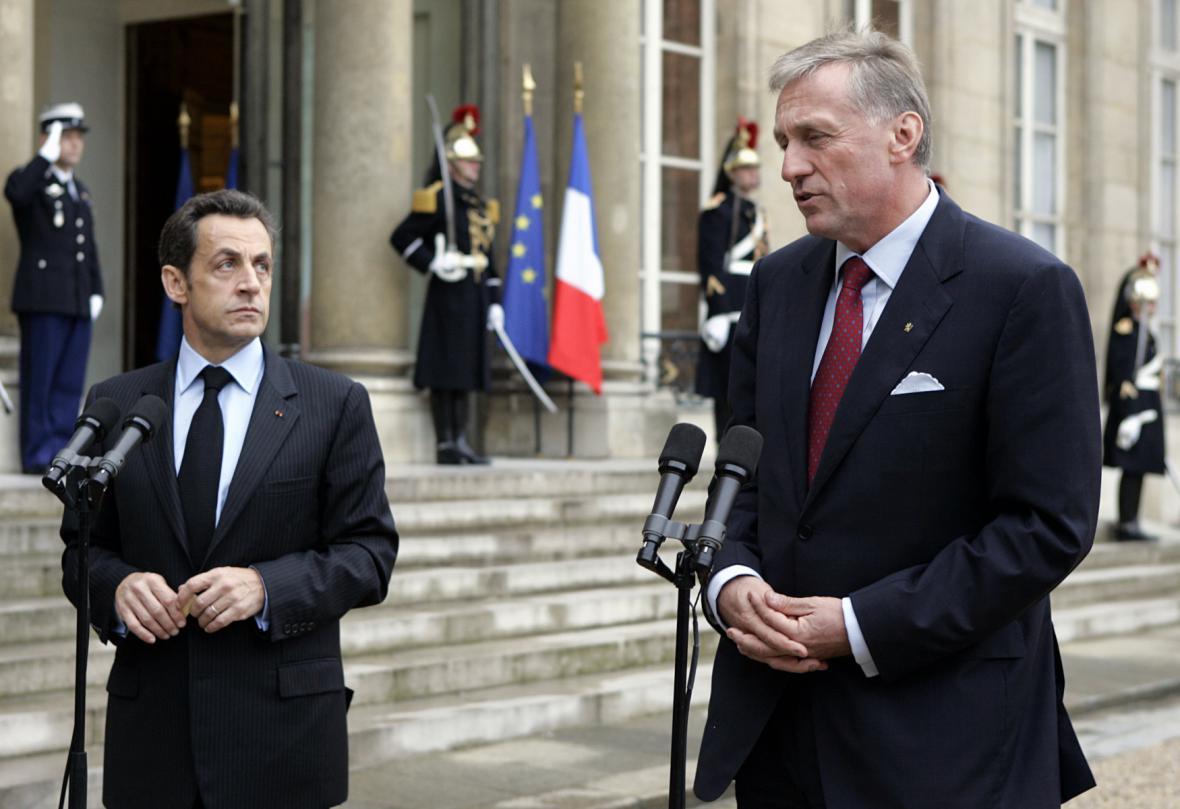 Sarkozy s tehdejším českým premiérem Mirkem Topolánkem - říjen 2008