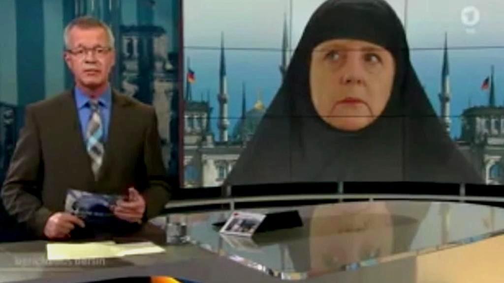 Angela Merkelová jako muslimka - grafika ARD