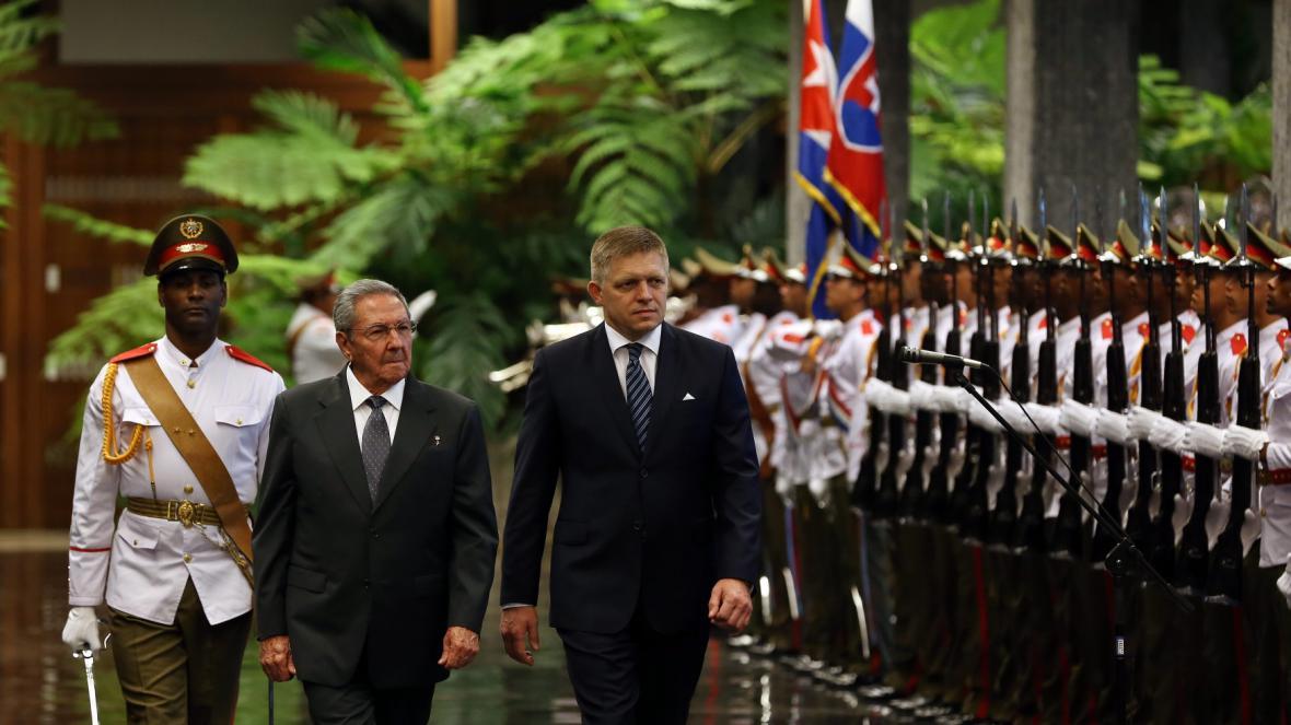 Raúl Castro a Robert Fico v Havaně