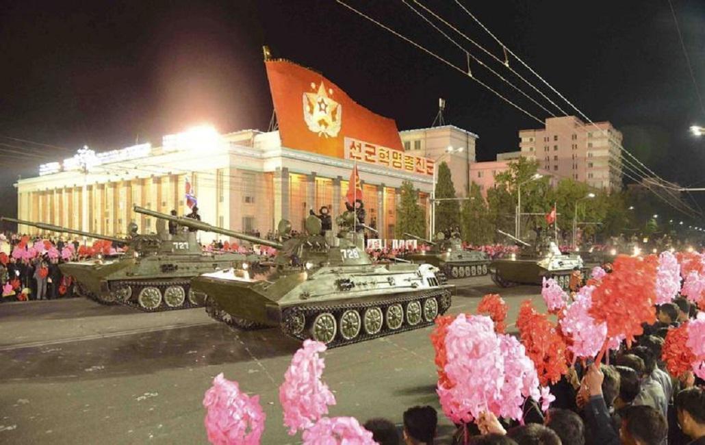 Přehlídka v centru Pchjongjangu
