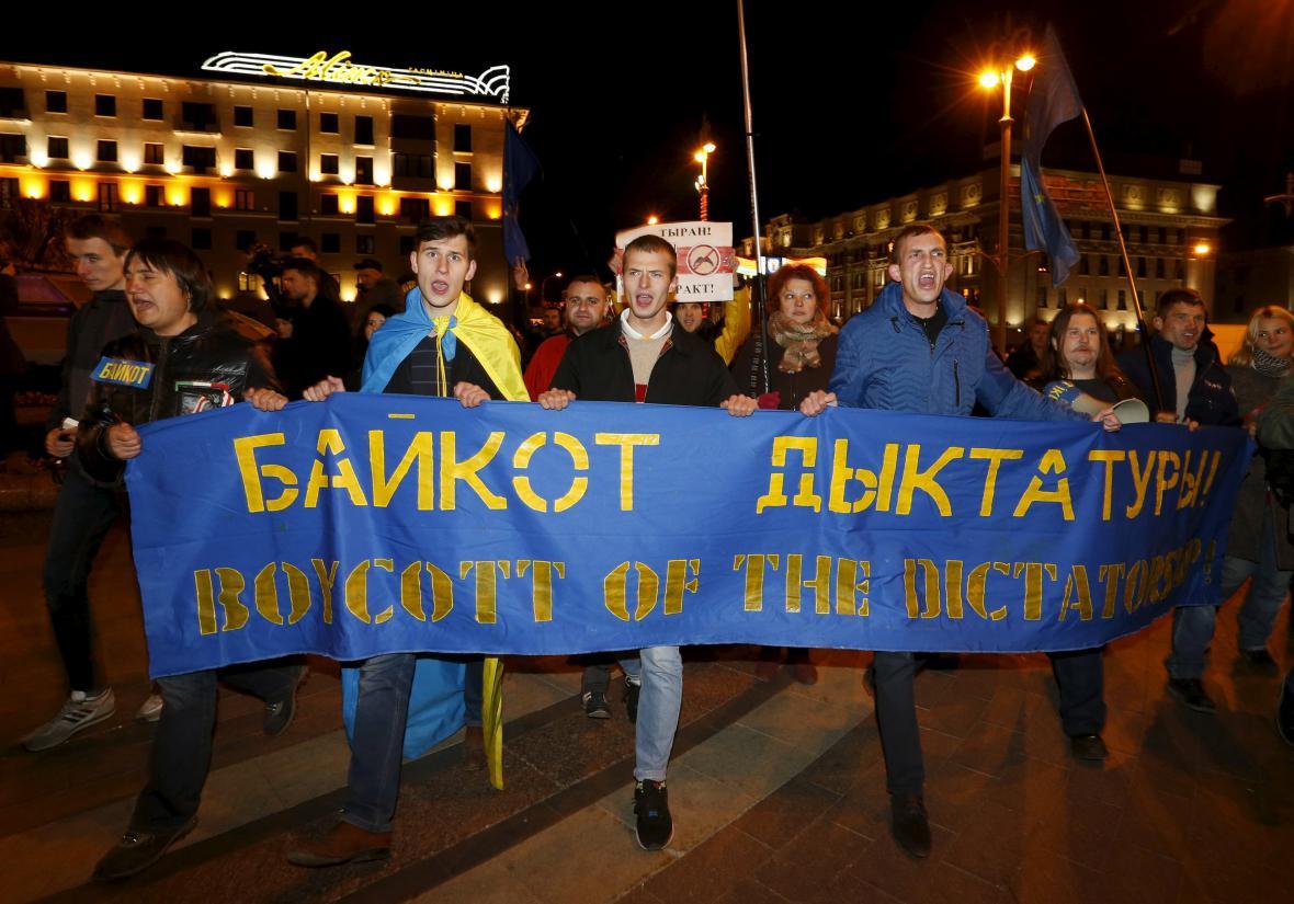 Opoziční demonstrace v Minsku