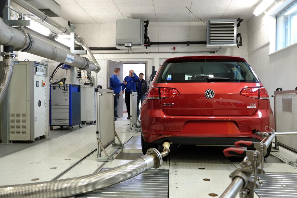 Měření emisí u auta VW Golf