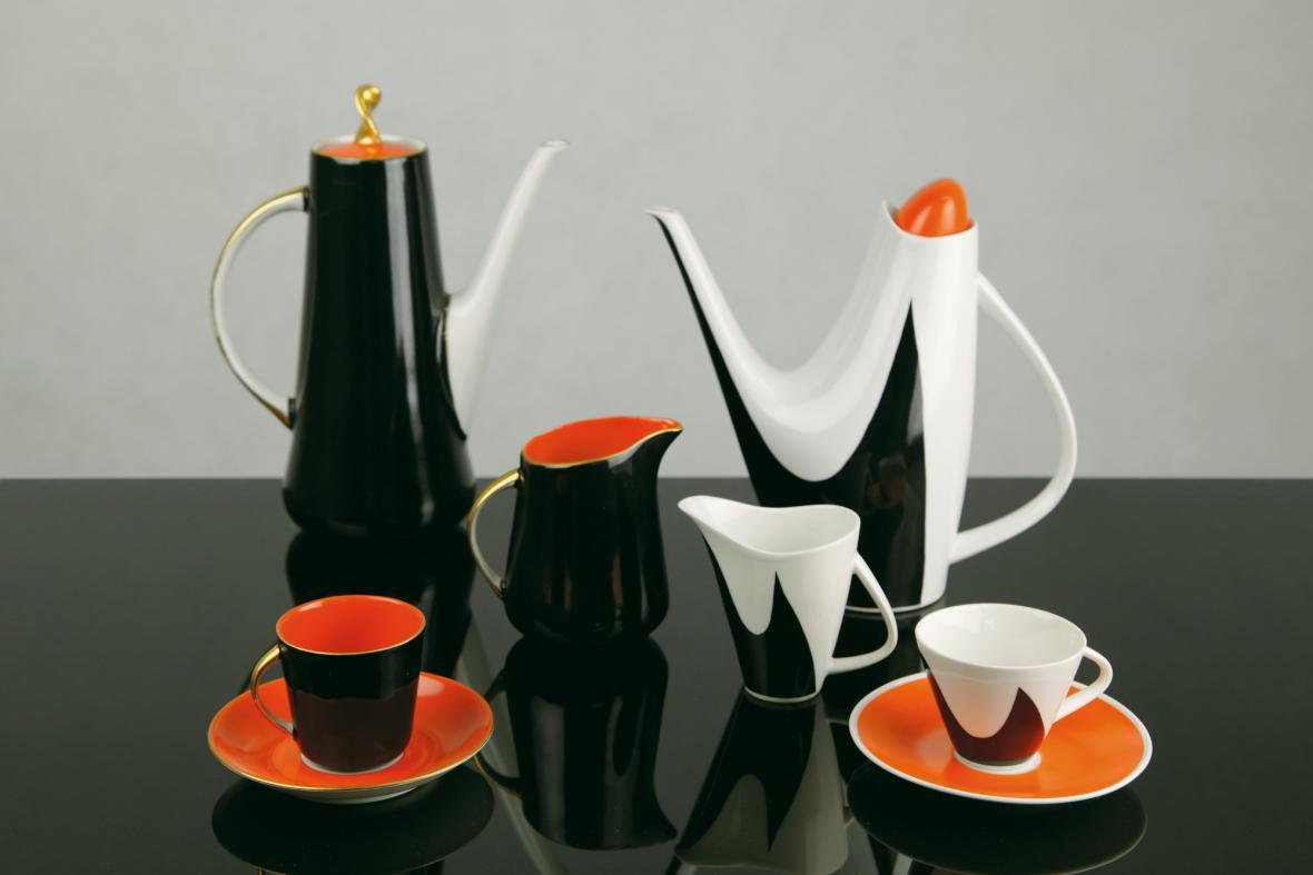 Danuta Duszniak, kávový servis Prometeusz, 1959 a Jaroslav Ježek, kávový servis Tria, 1959