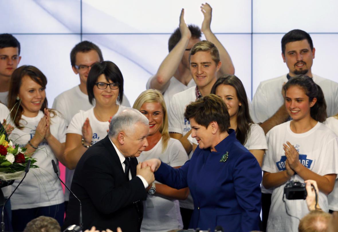 Jaroslaw Kaczyński s kaandidátkou na premiérku Beatou Szydlovou