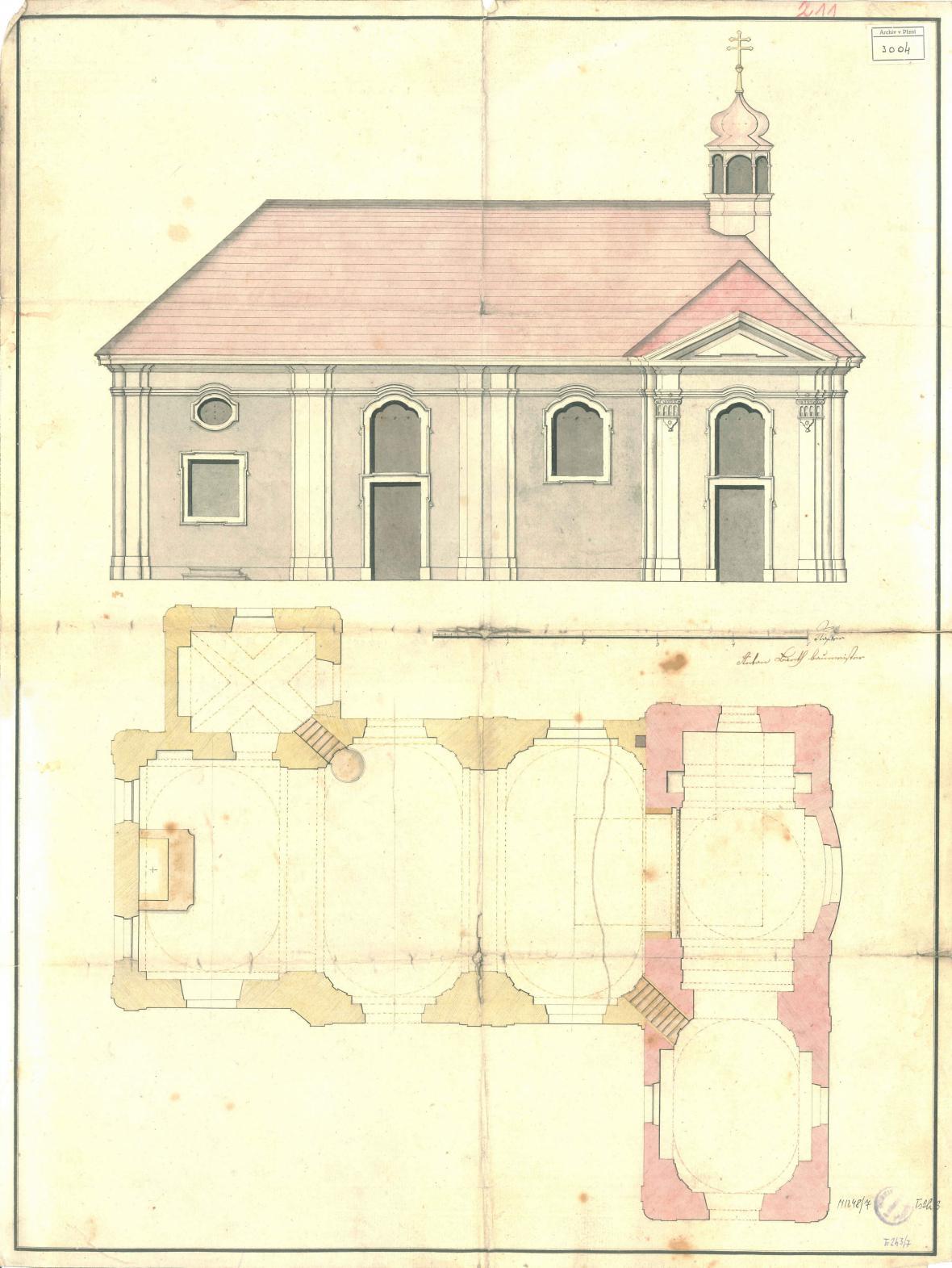 Neprovedená varianta návrhu na rozšíření kaple U Ježíška v Plzni, kolem 1797