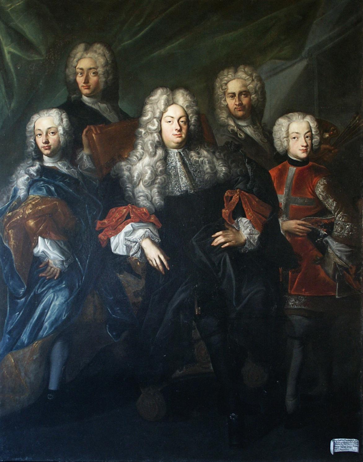 Filip Kristián Bentum / Skupinový portrét hraběnky Marie Gabriely Lažanské s dcerami, 1716–1717