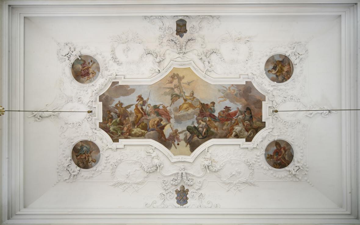Jan Kryštof Liška / Triumf katolické církve a čtyři Kardinální ctnosti, 1700, Klášter Plasy