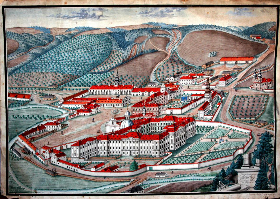 Martin Prusík / podoba plaského kláštera od jihovýchodu – faktický stav 1809