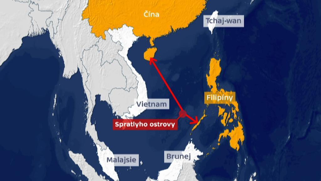 Vzdálenost Spratlyho ostrovů od jednotlivých zemí, které se je nárokují