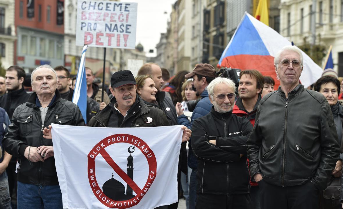 Demonstrace proti islámu v Brně