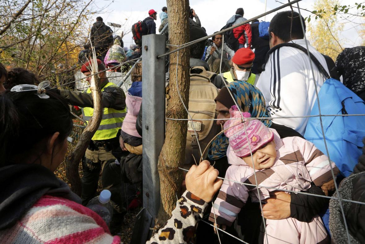 Uprchlíci na slovinsko-rakouské hranici