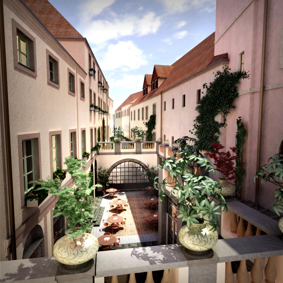 Vizualizace hotelu na místě historického domu U Sixtů