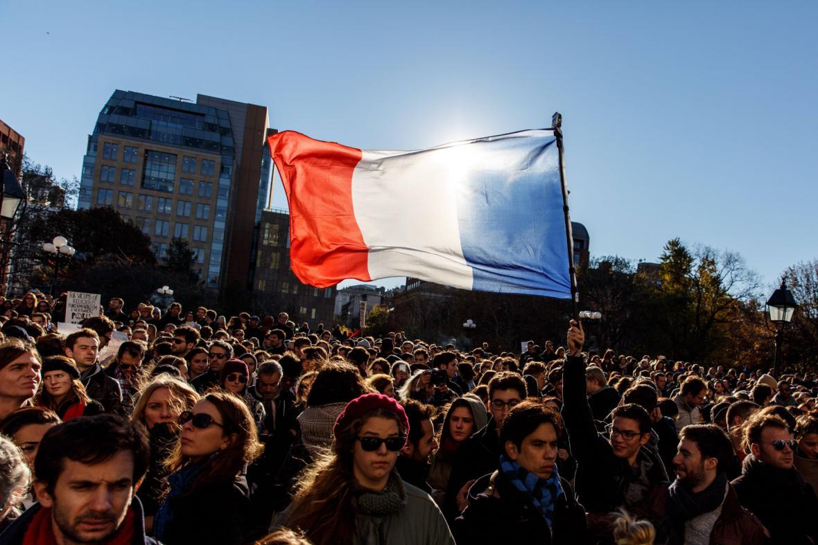 Shromáždění na podporu Francie v New Yorku