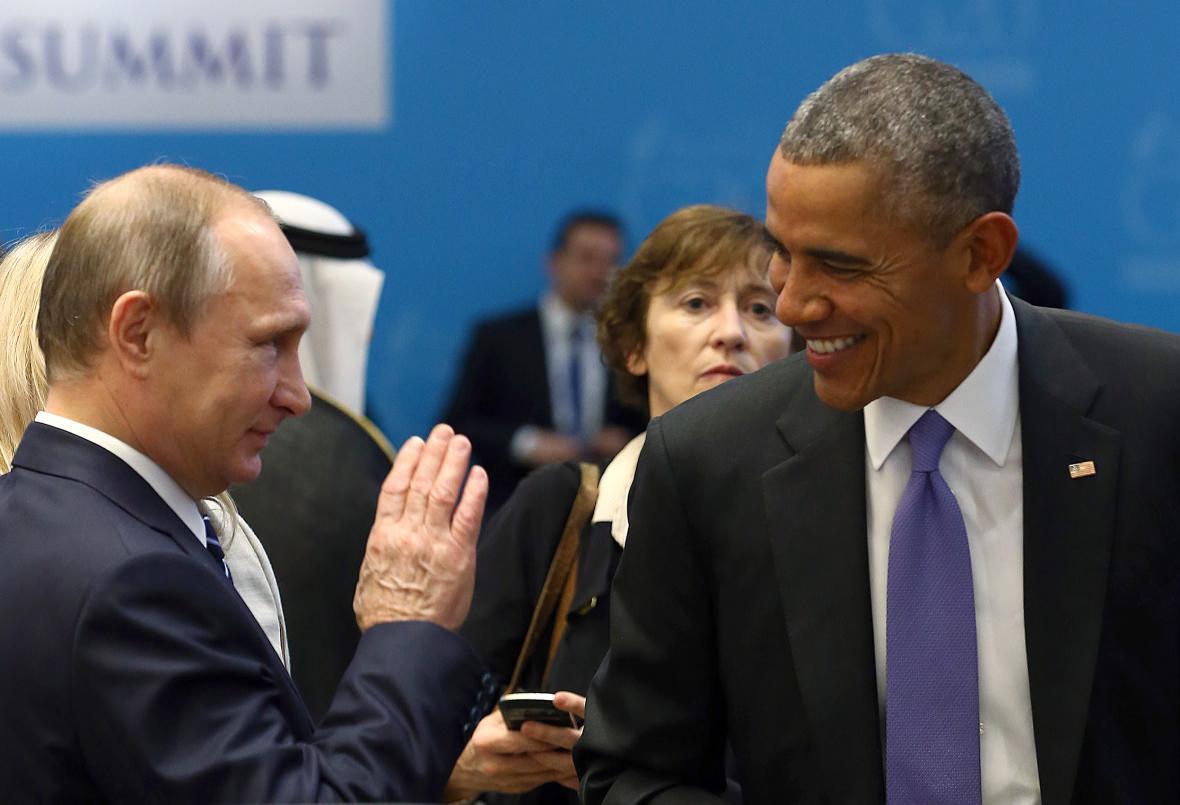 Vladimir Putin a Barack Obama na summitu zemí G20