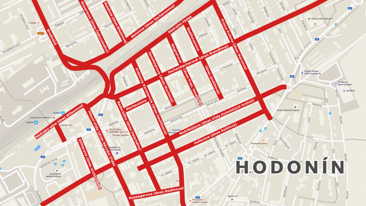 Ulice zničené během bombardování Hodonína