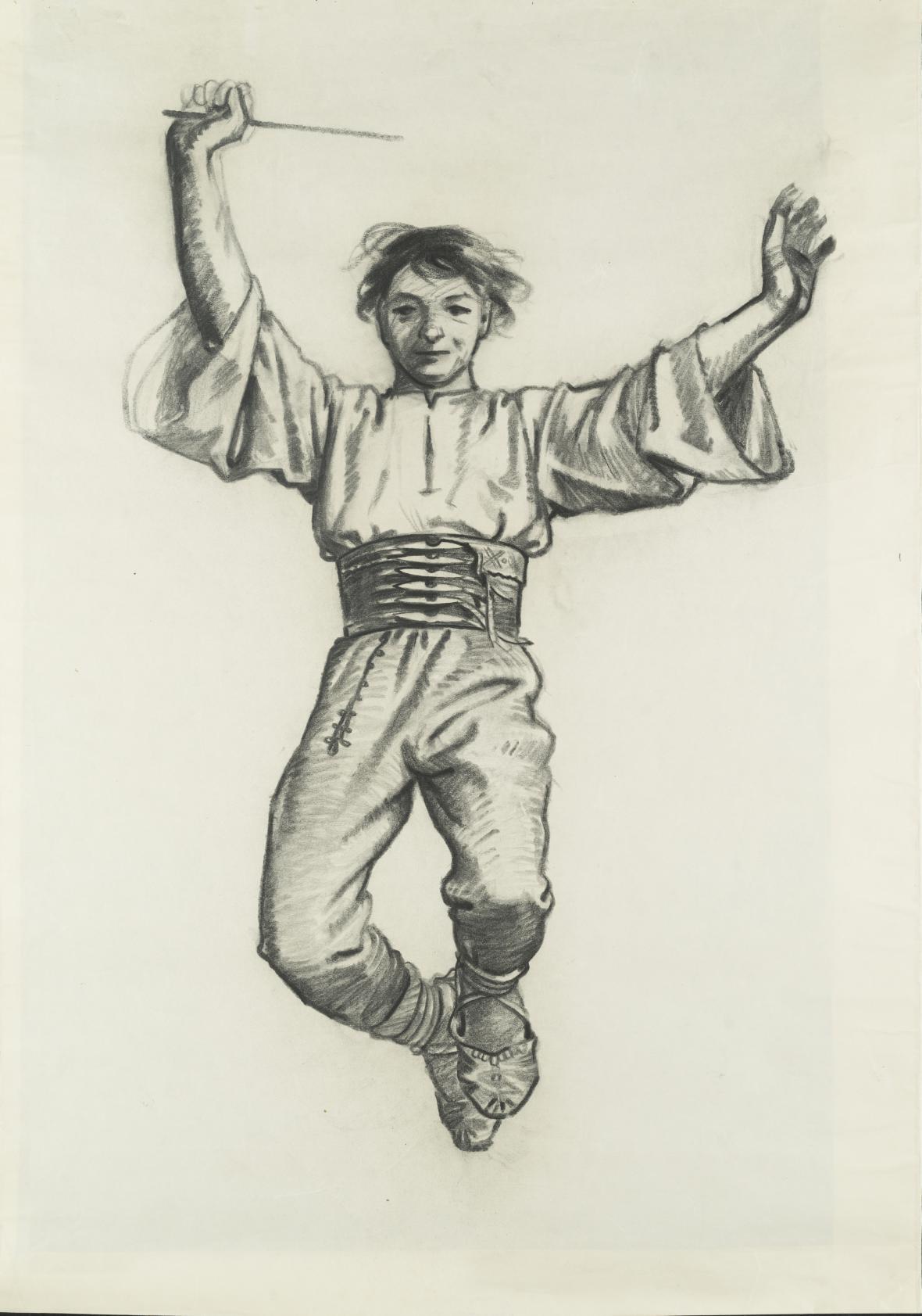 Adolf Zábranský / Na paměť osvobození, studie ke sgrafitu v Ledeburské zahradě, 1955