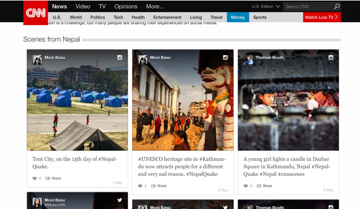 CNN doplnilo zpravodajství o zemětřesení v Nepálu o fotografie ze sociálních sítí