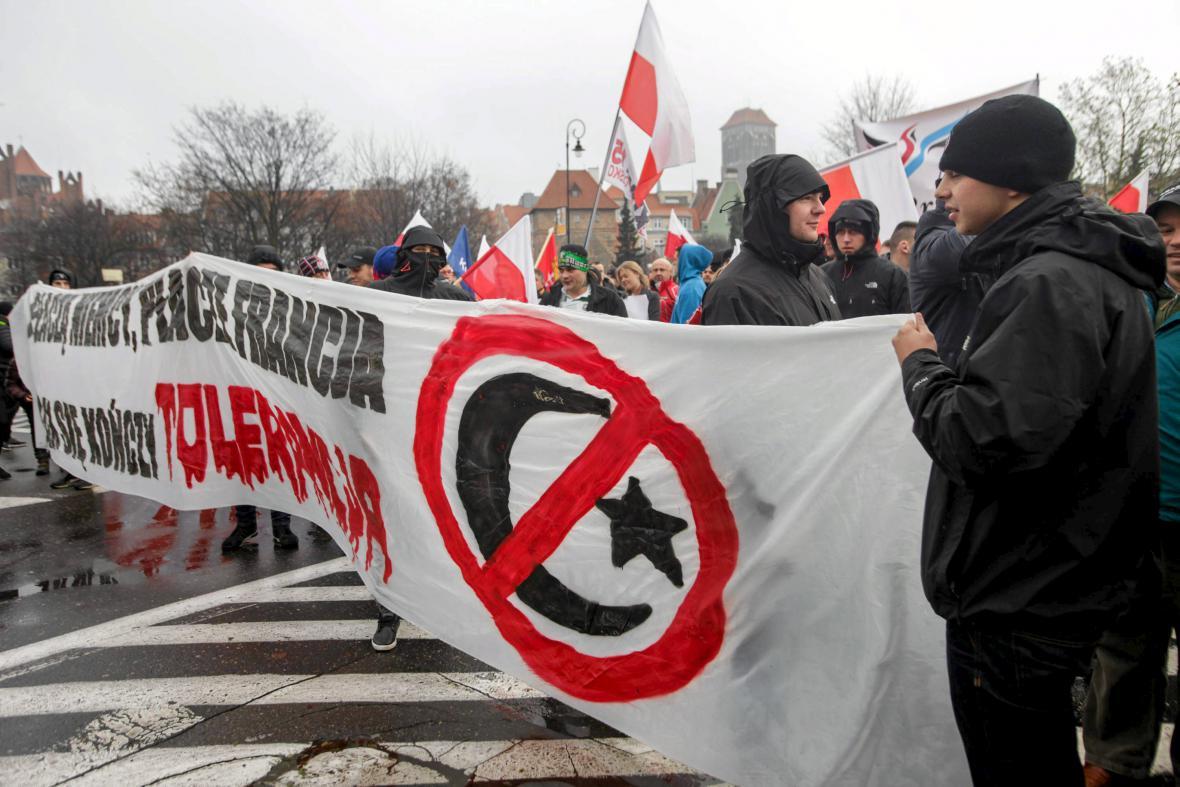 Polský protest proti migrantům v Gdaňsku
